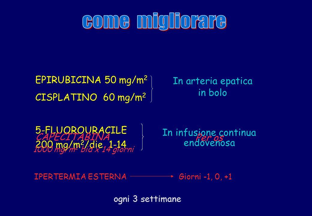 EPIRUBICINA 50 mg/m 2 CISPLATINO 60 mg/m 2 In arteria epatica in bolo ogni 3 settimane 5-FLUOROURACILE 200 mg/m 2 /die 1-14 In infusione continua endo