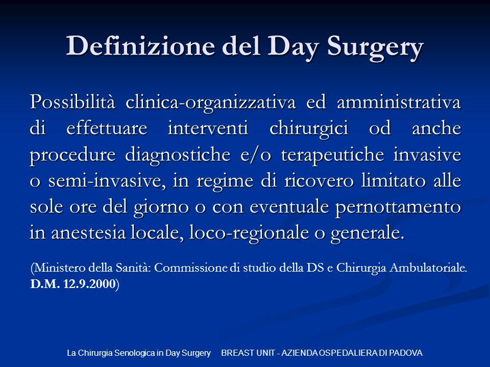 La Chirurgia Senologica in Day Surgery BREAST UNIT - AZIENDA OSPEDALIERA DI PADOVA Definizione del Day Surgery Possibilità clinica-organizzativa ed am