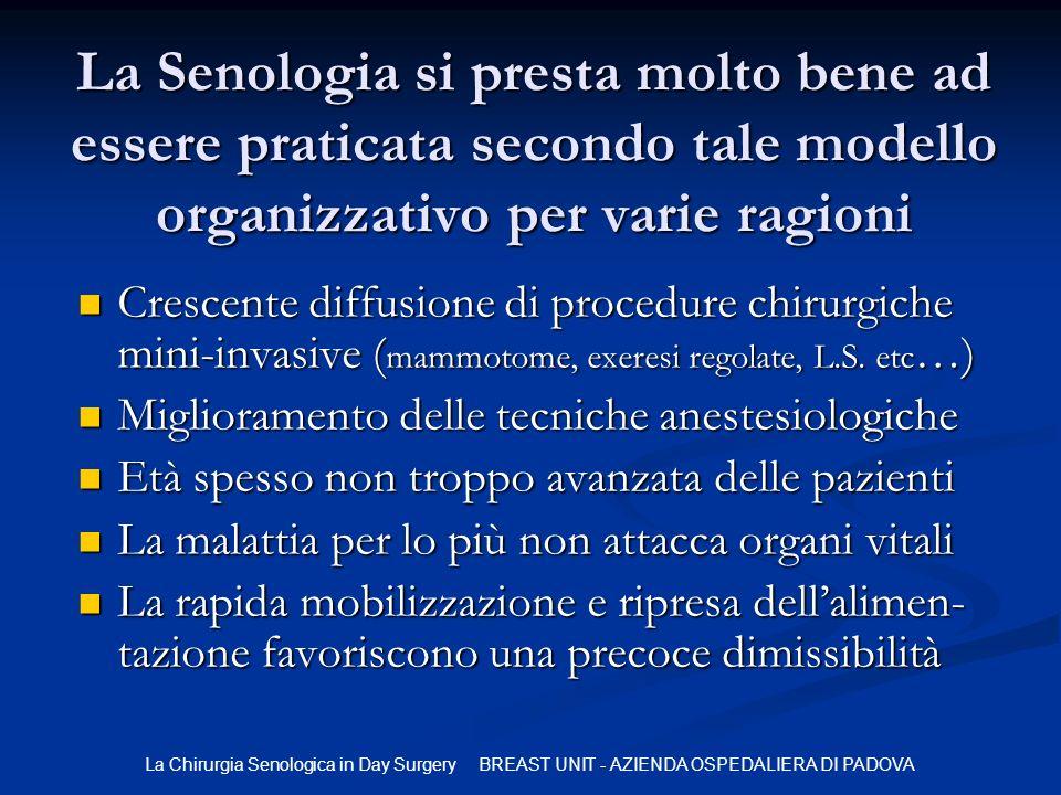 La Chirurgia Senologica in Day Surgery BREAST UNIT - AZIENDA OSPEDALIERA DI PADOVA La Senologia si presta molto bene ad essere praticata secondo tale