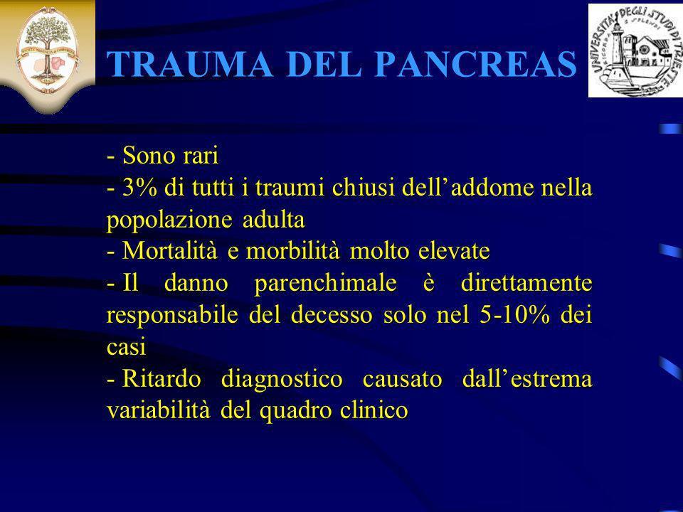 TRAUMA DEL PANCREAS - Sono rari - 3% di tutti i traumi chiusi delladdome nella popolazione adulta - Mortalità e morbilità molto elevate - Il danno par