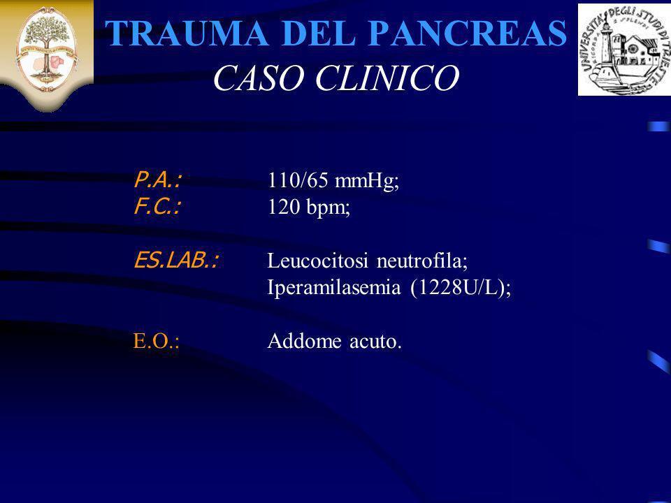 TRAUMA DEL PANCREAS CASO CLINICO P.A.: 110/65 mmHg; F.C.: 120 bpm; ES.LAB.: Leucocitosi neutrofila; Iperamilasemia (1228U/L); E.O.: Addome acuto.