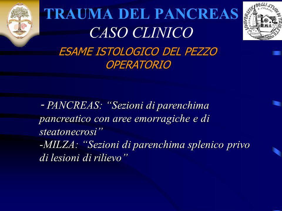 TRAUMA DEL PANCREAS CASO CLINICO - PANCREAS: Sezioni di parenchima pancreatico con aree emorragiche e di steatonecrosi -MILZA: Sezioni di parenchima s