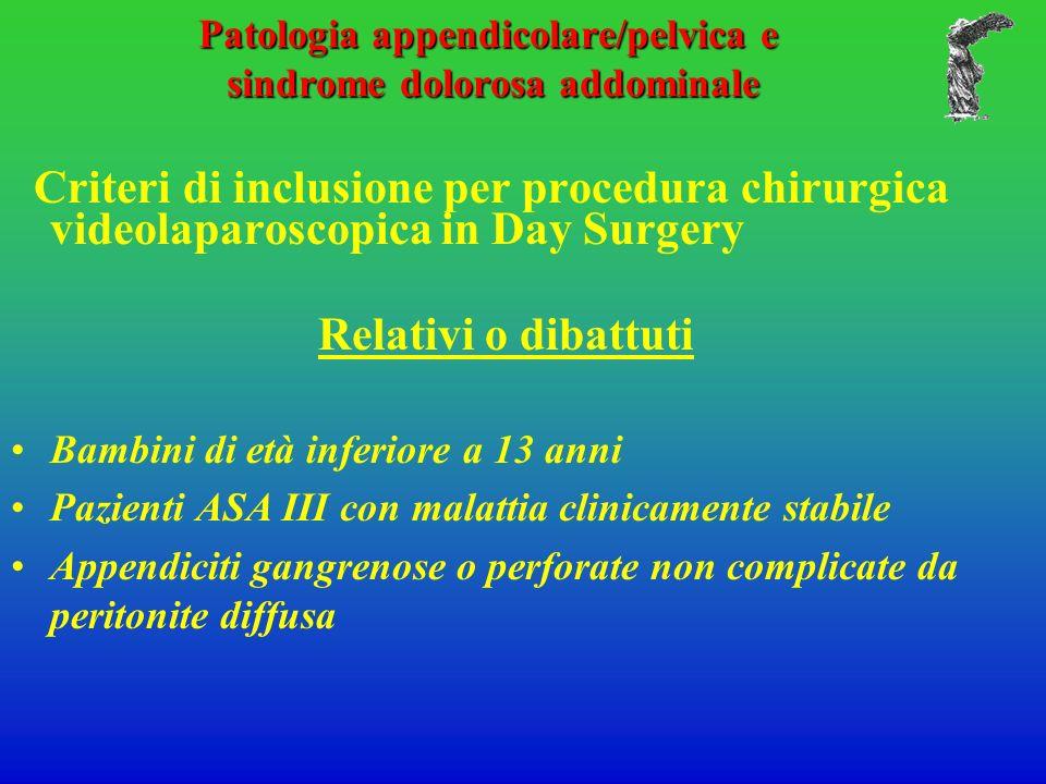 Patologia appendicolare/pelvica e sindrome dolorosa addominale Criteri di inclusione per procedura chirurgica videolaparoscopica in Day Surgery Relati