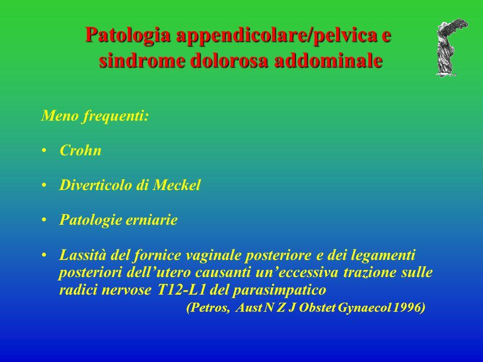 Patologia appendicolare/pelvica e sindrome dolorosa addominale Meno frequenti: Crohn Diverticolo di Meckel Patologie erniarie Lassità del fornice vagi