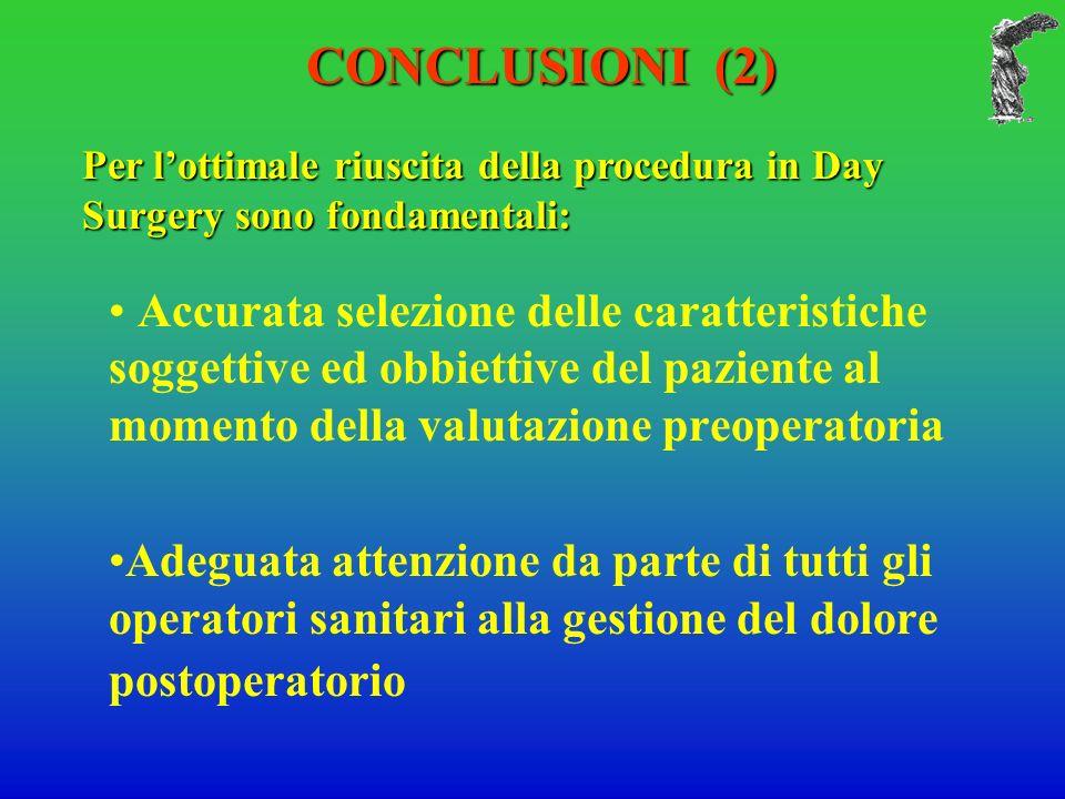 Accurata selezione delle caratteristiche soggettive ed obbiettive del paziente al momento della valutazione preoperatoria Adeguata attenzione da parte