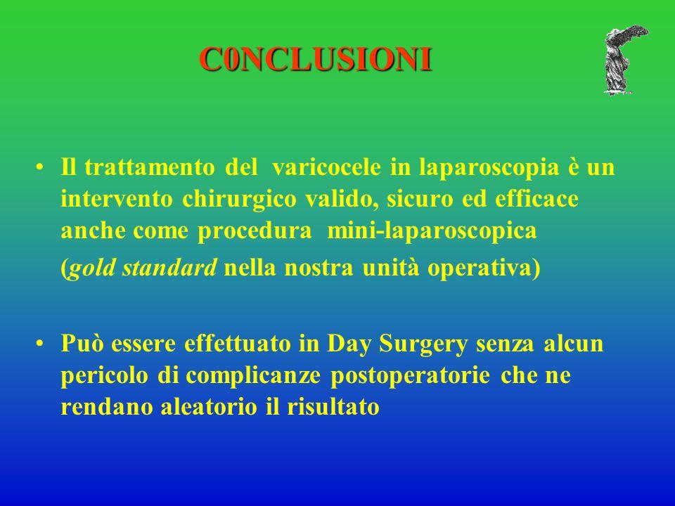 Il trattamento del varicocele in laparoscopia è un intervento chirurgico valido, sicuro ed efficace anche come procedura mini-laparoscopica (gold standard nella nostra unità operativa) Può essere effettuato in Day Surgery senza alcun pericolo di complicanze postoperatorie che ne rendano aleatorio il risultato C0NCLUSIONI