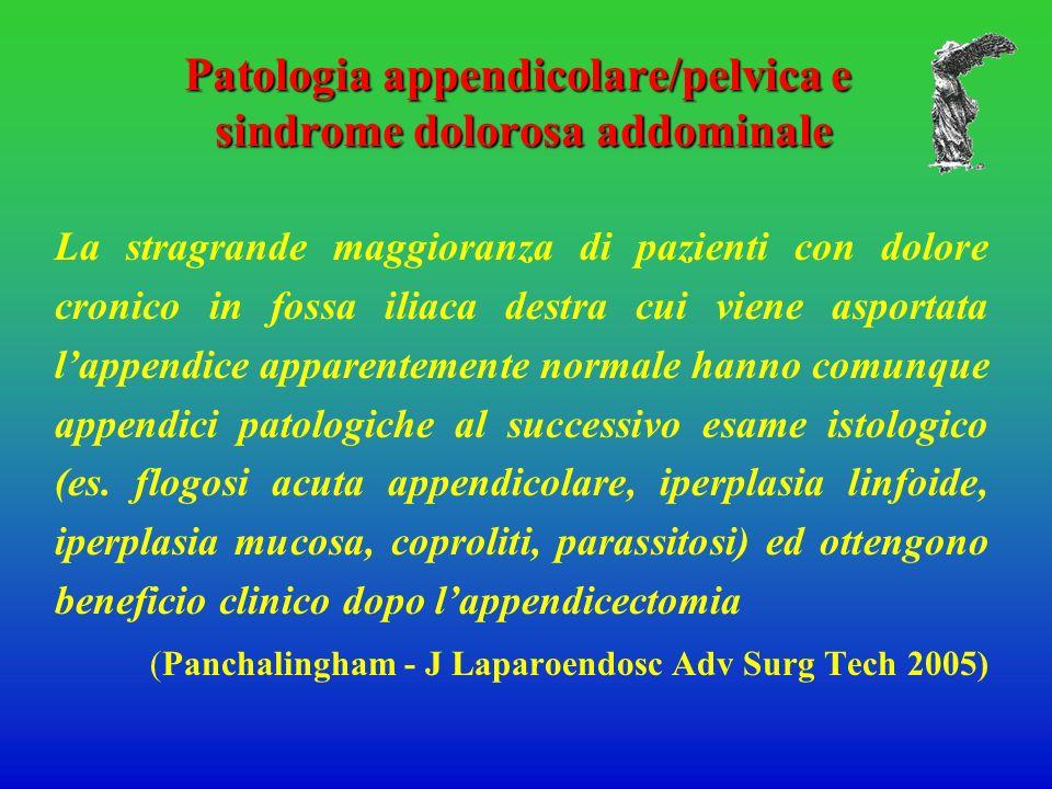 Patologia appendicolare/pelvica e sindrome dolorosa addominale La stragrande maggioranza di pazienti con dolore cronico in fossa iliaca destra cui vie