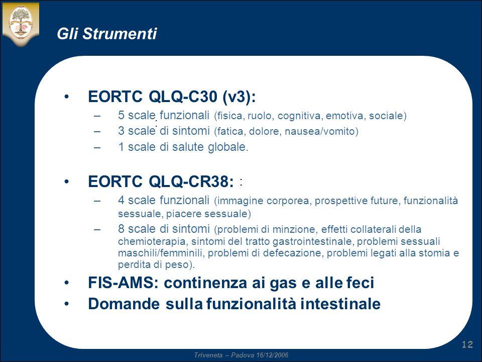 Triveneta – Padova 16/12/2006 12 Gli Strumenti : :: EORTC QLQ-C30 (v3): –5 scale funzionali (fisica, ruolo, cognitiva, emotiva, sociale) –3 scale di sintomi (fatica, dolore, nausea/vomito) –1 scale di salute globale.