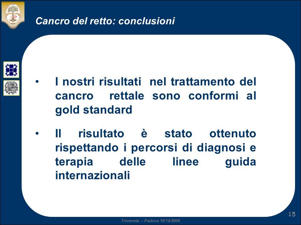 Triveneta – Padova 16/12/2006 15 Cancro del retto: conclusioni I nostri risultati nel trattamento del cancro rettale sono conformi al gold standard Il risultato è stato ottenuto rispettando i percorsi di diagnosi e terapia delle linee guida internazionali