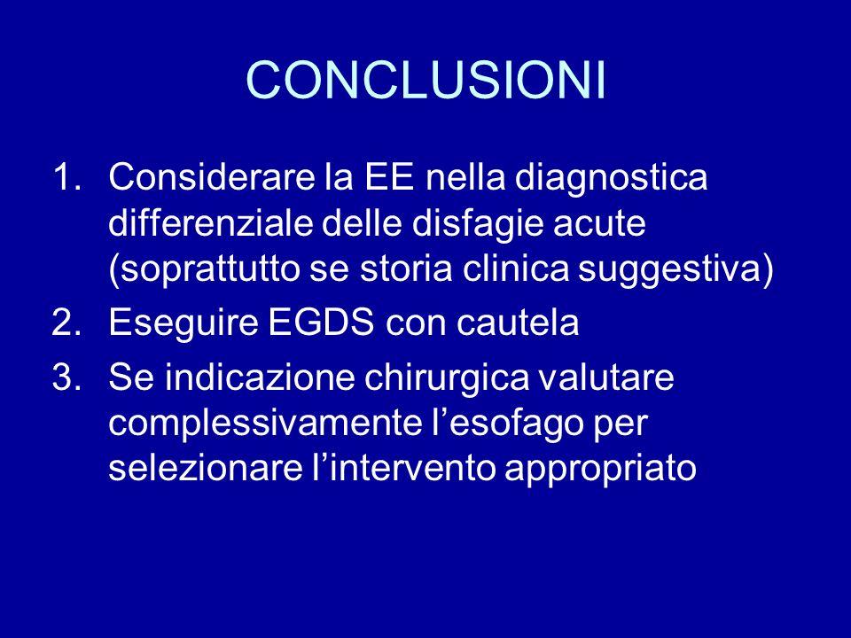 CONCLUSIONI 1.Considerare la EE nella diagnostica differenziale delle disfagie acute (soprattutto se storia clinica suggestiva) 2.Eseguire EGDS con ca
