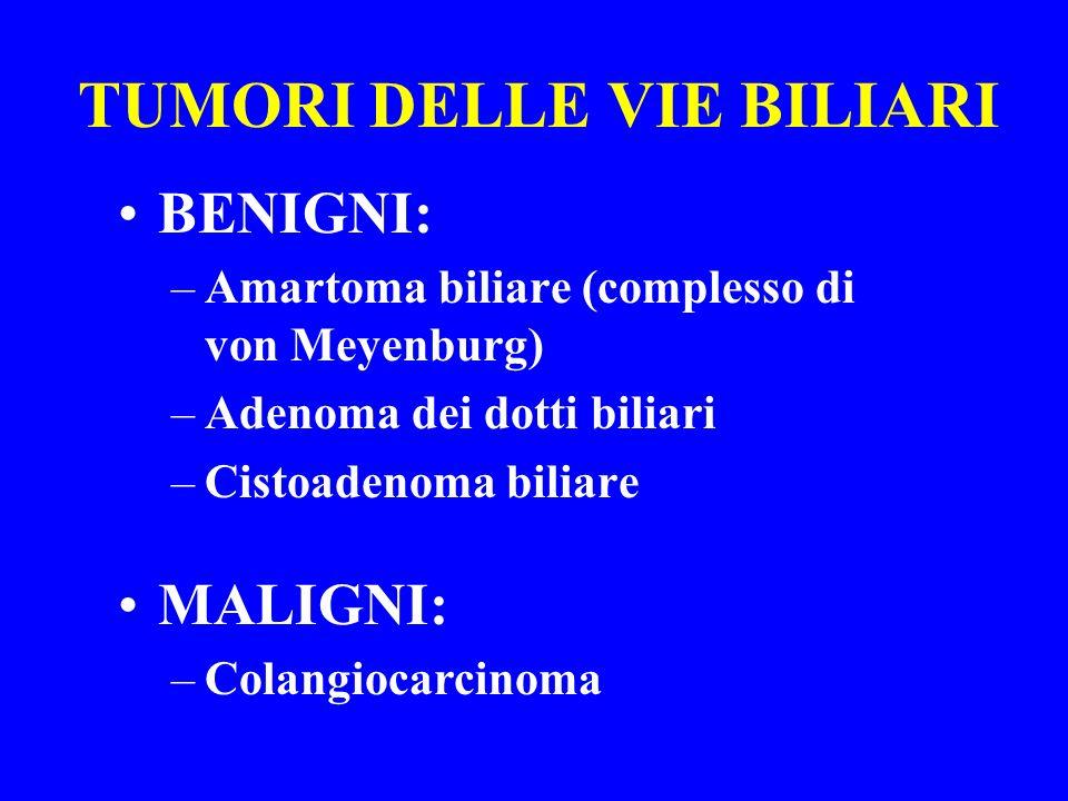 TUMORI DELLE VIE BILIARI BENIGNI: –Amartoma biliare (complesso di von Meyenburg) –Adenoma dei dotti biliari –Cistoadenoma biliare MALIGNI: –Colangioca