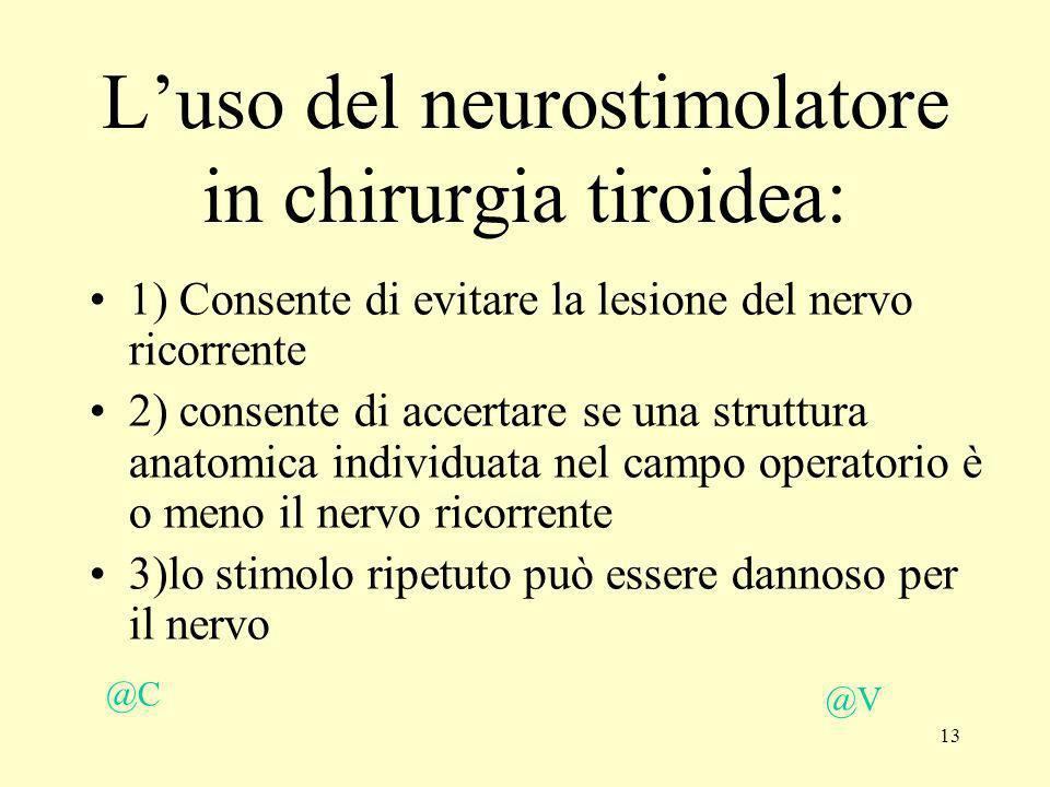 13 Luso del neurostimolatore in chirurgia tiroidea: 1) Consente di evitare la lesione del nervo ricorrente 2) consente di accertare se una struttura a