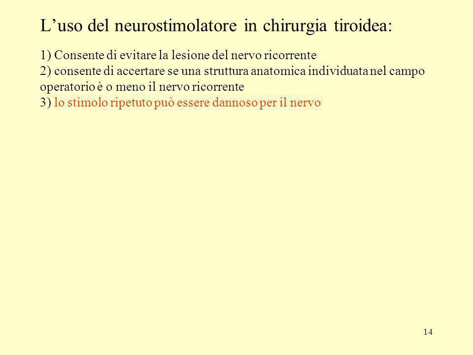 14 Luso del neurostimolatore in chirurgia tiroidea: 1) Consente di evitare la lesione del nervo ricorrente 2) consente di accertare se una struttura a