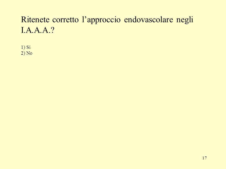 17 Ritenete corretto lapproccio endovascolare negli I.A.A.A.? 1) Si 2) No