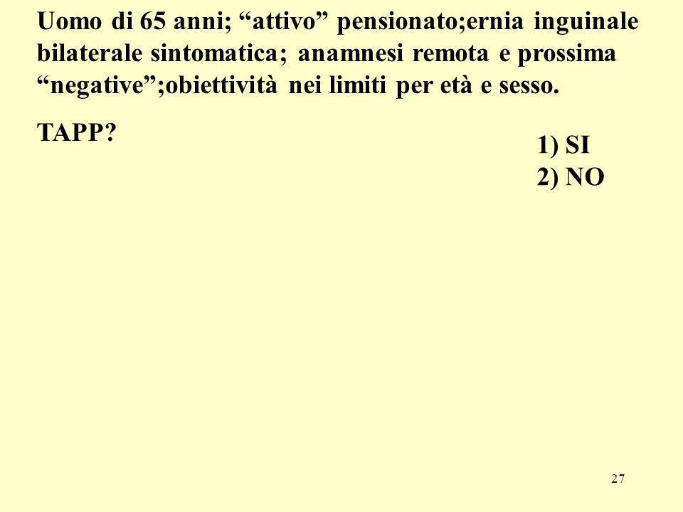 27 1) SI 2) NO Uomo di 65 anni; attivo pensionato;ernia inguinale bilaterale sintomatica; anamnesi remota e prossima negative;obiettività nei limiti p
