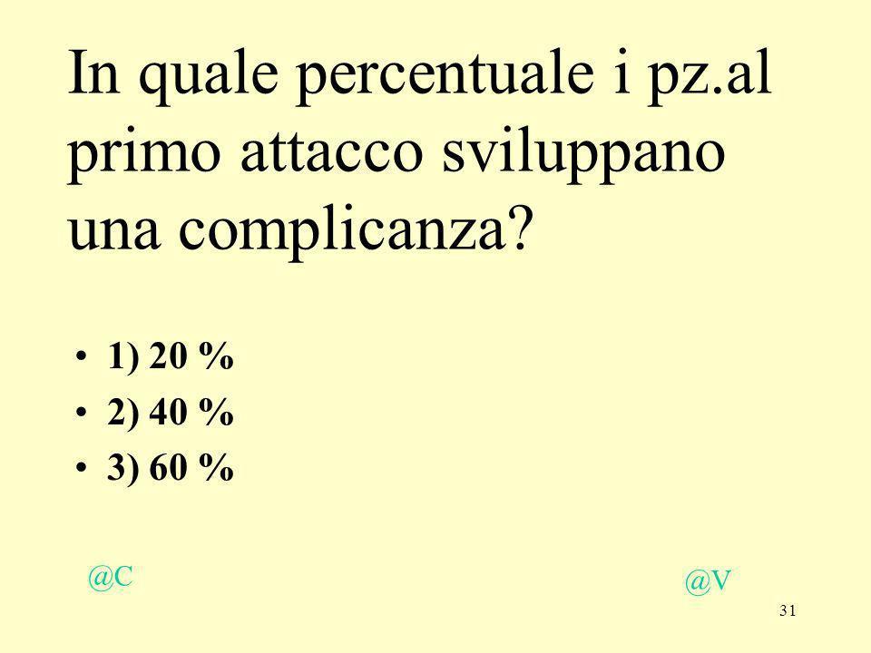 31 @V @C 1) 20 % 2) 40 % 3) 60 % In quale percentuale i pz.al primo attacco sviluppano una complicanza?
