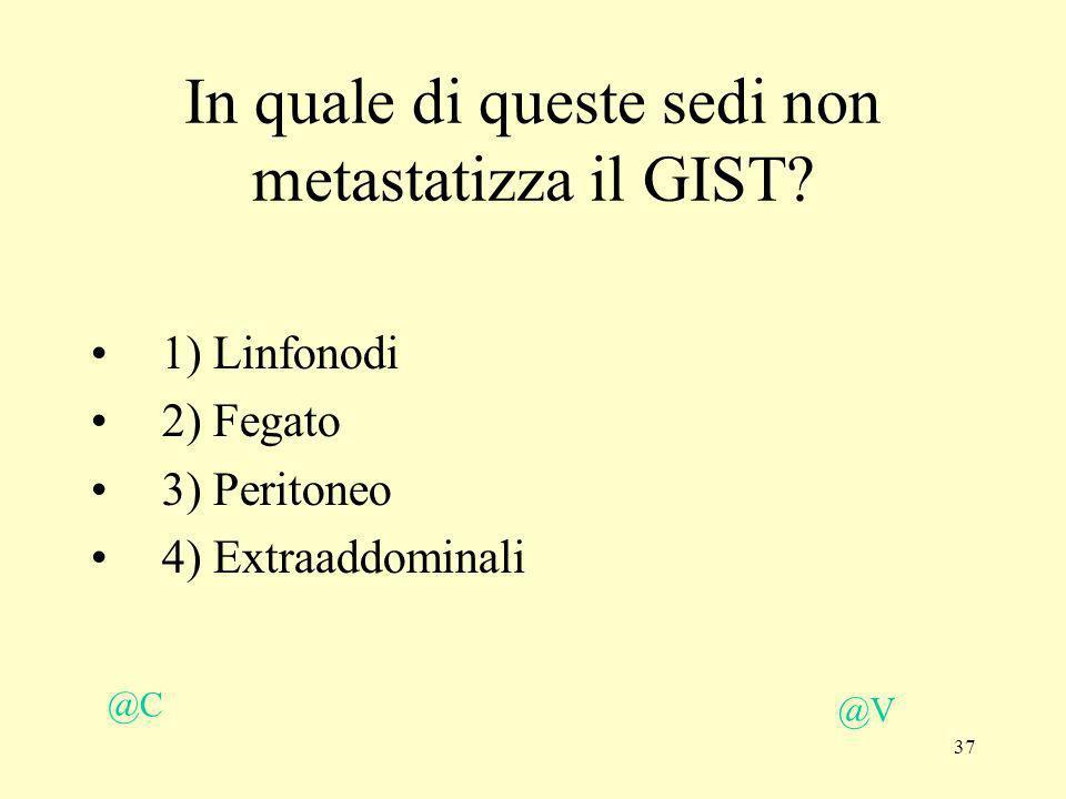 37 @V @C In quale di queste sedi non metastatizza il GIST? 1) Linfonodi 2) Fegato 3) Peritoneo 4) Extraaddominali