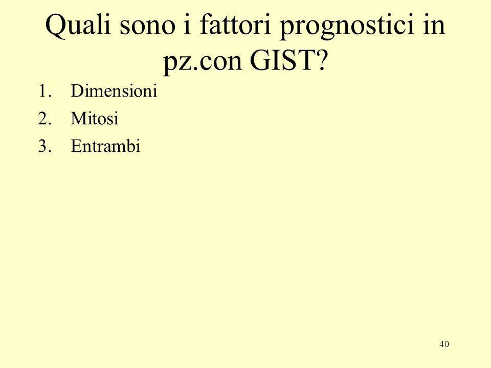 40 Quali sono i fattori prognostici in pz.con GIST? 1.Dimensioni 2.Mitosi 3.Entrambi