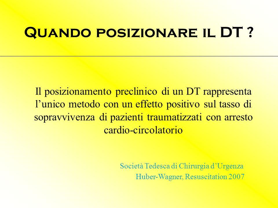 Il posizionamento preclinico di un DT rappresenta lunico metodo con un effetto positivo sul tasso di sopravvivenza di pazienti traumatizzati con arres