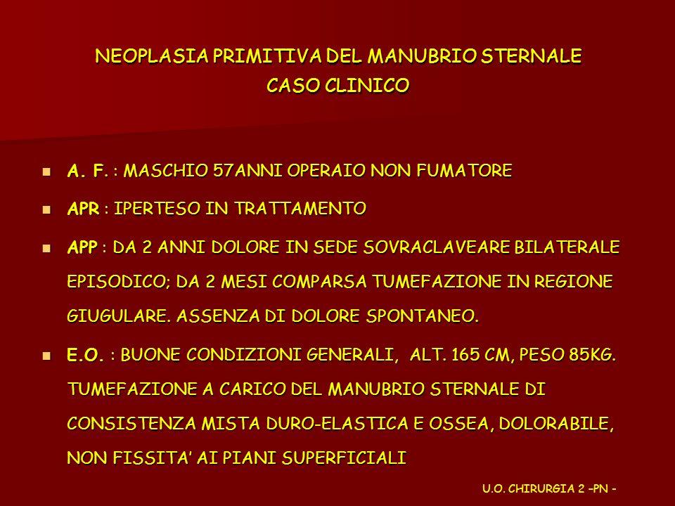NEOPLASIA PRIMITIVA DEL MANUBRIO STERNALE CASO CLINICO A. F. : MASCHIO 57ANNI OPERAIO NON FUMATORE A. F. : MASCHIO 57ANNI OPERAIO NON FUMATORE APR : I