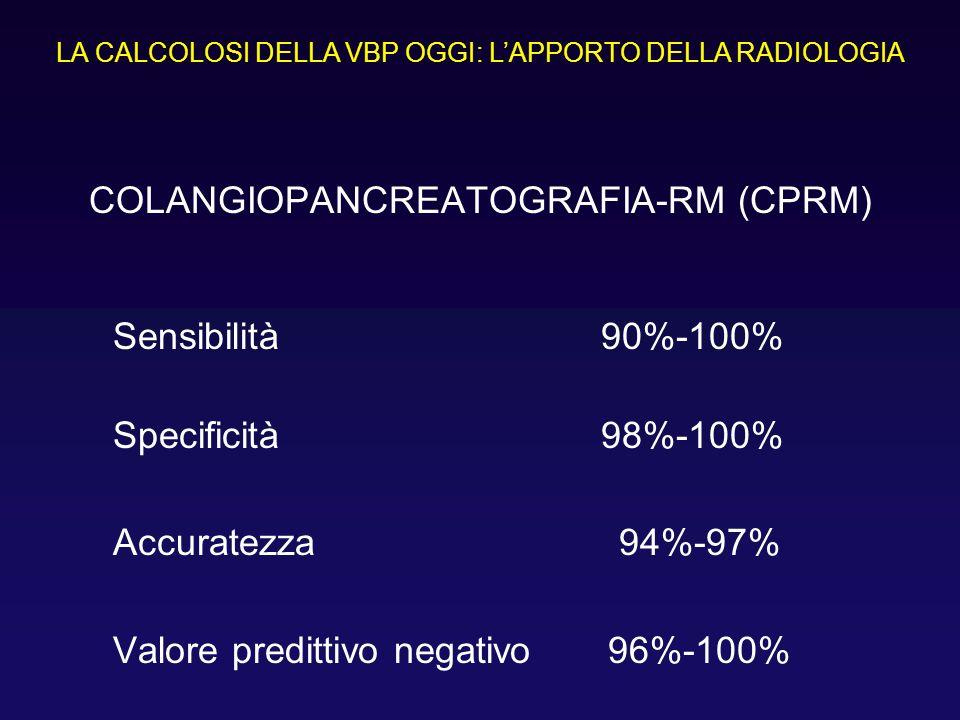 COLANGIOPANCREATOGRAFIA-RM (CPRM) Sensibilità 90%-100% Specificità 98%-100% Accuratezza 94%-97% Valore predittivo negativo 96%-100% LA CALCOLOSI DELLA