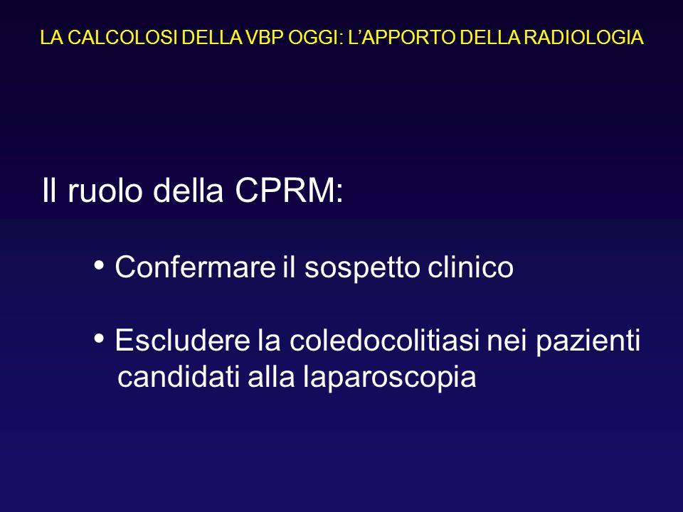 Confermare il sospetto clinico Escludere la coledocolitiasi nei pazienti candidati alla laparoscopia Il ruolo della CPRM: