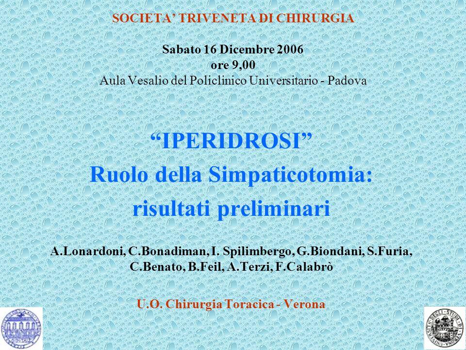 SOCIETA TRIVENETA DI CHIRURGIA Sabato 16 Dicembre 2006 ore 9,00 Aula Vesalio del Policlinico Universitario - Padova IPERIDROSI Ruolo della Simpaticoto