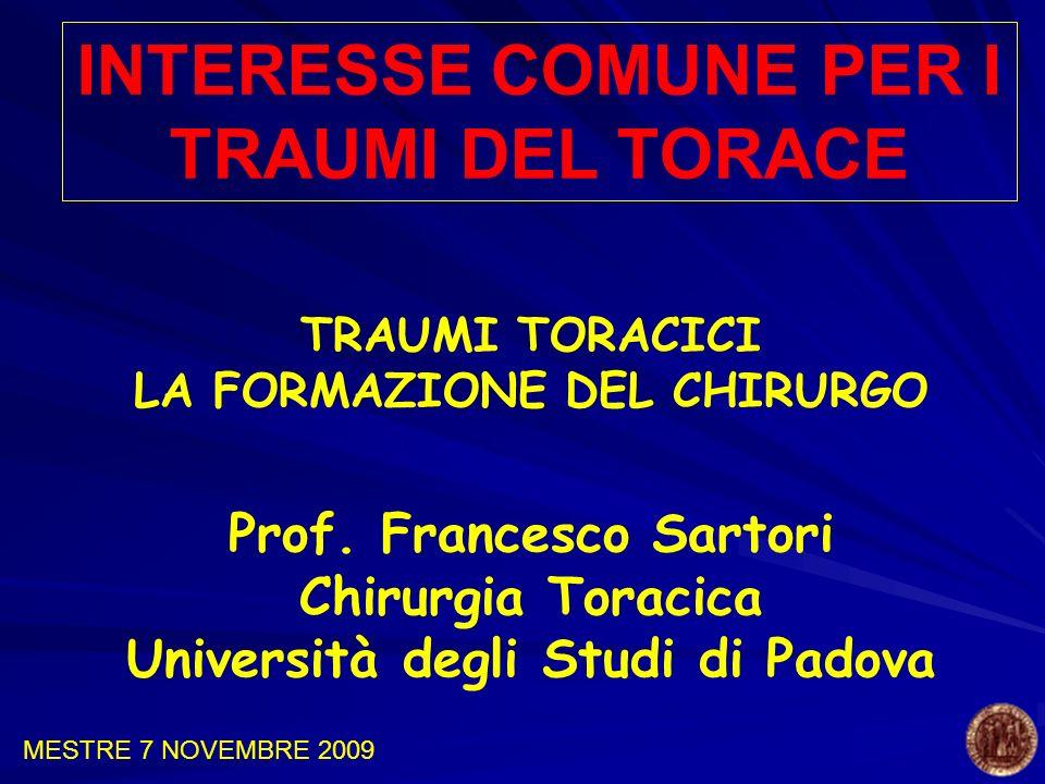 TRAUMI TORACICI LA FORMAZIONE DEL CHIRURGO Prof. Francesco Sartori Chirurgia Toracica Università degli Studi di Padova INTERESSE COMUNE PER I TRAUMI D