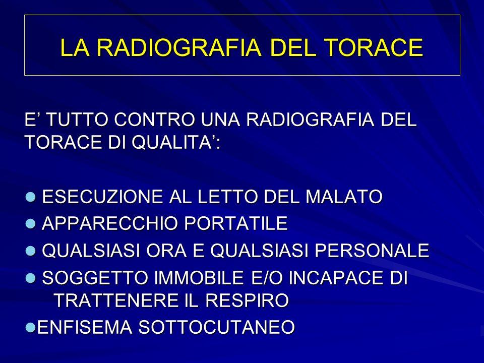 LA RADIOGRAFIA DEL TORACE E TUTTO CONTRO UNA RADIOGRAFIA DEL TORACE DI QUALITA: ESECUZIONE AL LETTO DEL MALATO ESECUZIONE AL LETTO DEL MALATO APPARECC