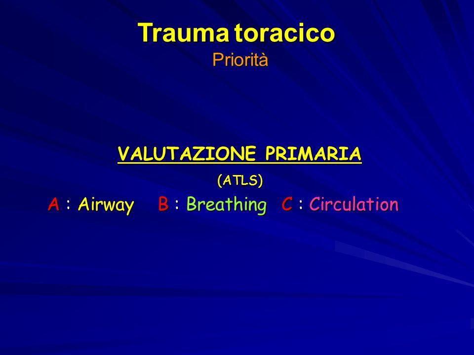 Priorità VALUTAZIONE PRIMARIA (ATLS) A : Airway B : Breathing C : Circulation Trauma toracico