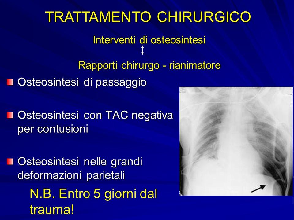 Interventi di osteosintesi Rapporti chirurgo - rianimatore Osteosintesi di passaggio Osteosintesi con TAC negativa per contusioni Osteosintesi nelle g