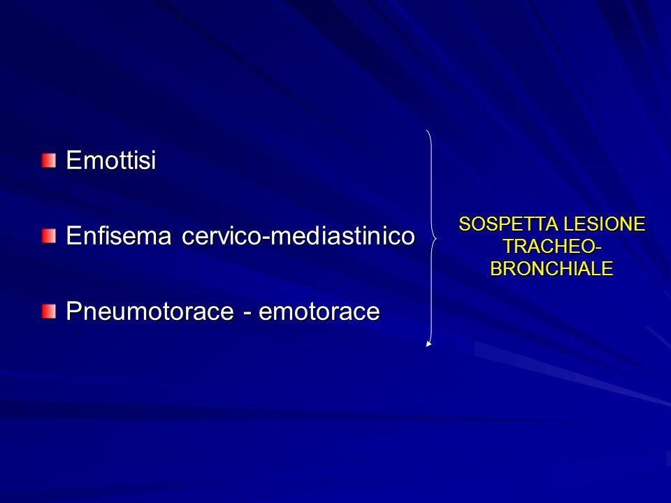 SOSPETTA LESIONE TRACHEO- BRONCHIALE Emottisi Enfisema cervico-mediastinico Pneumotorace - emotorace