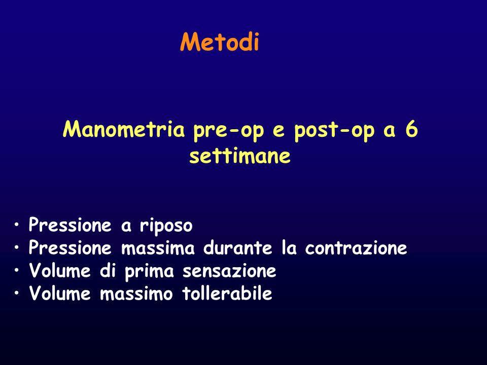 Metodi Manometria pre-op e post-op a 6 settimane Pressione a riposo Pressione massima durante la contrazione Volume di prima sensazione Volume massimo
