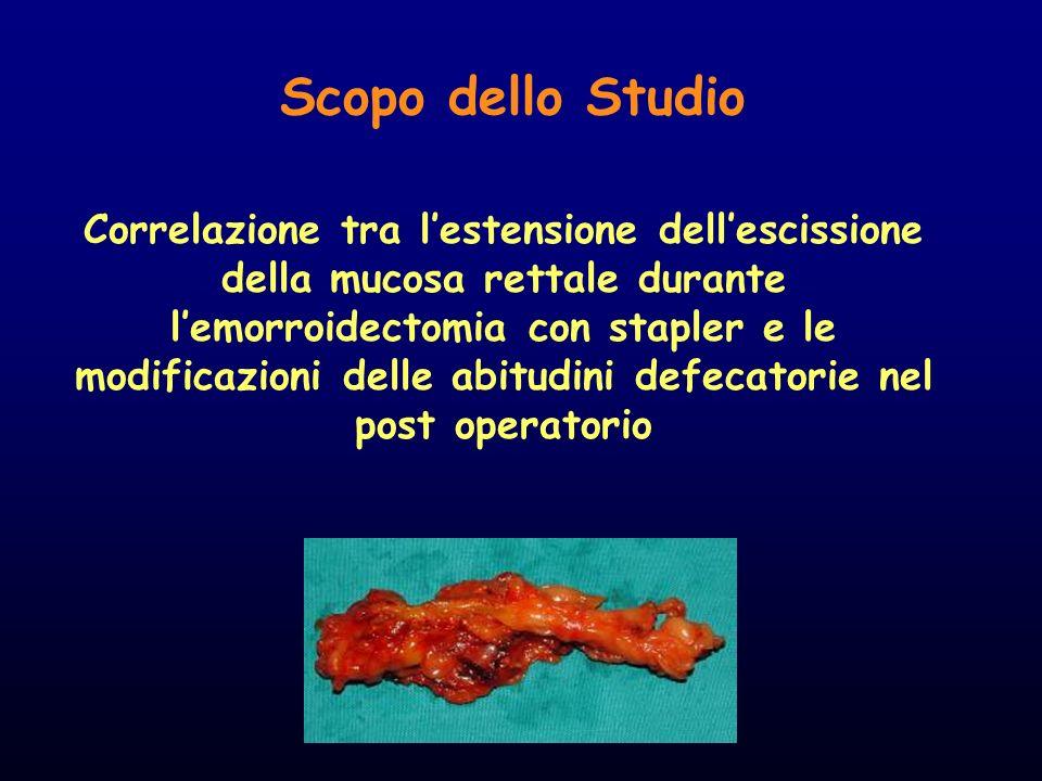 Scopo dello Studio Correlazione tra lestensione dellescissione della mucosa rettale durante lemorroidectomia con stapler e le modificazioni delle abit