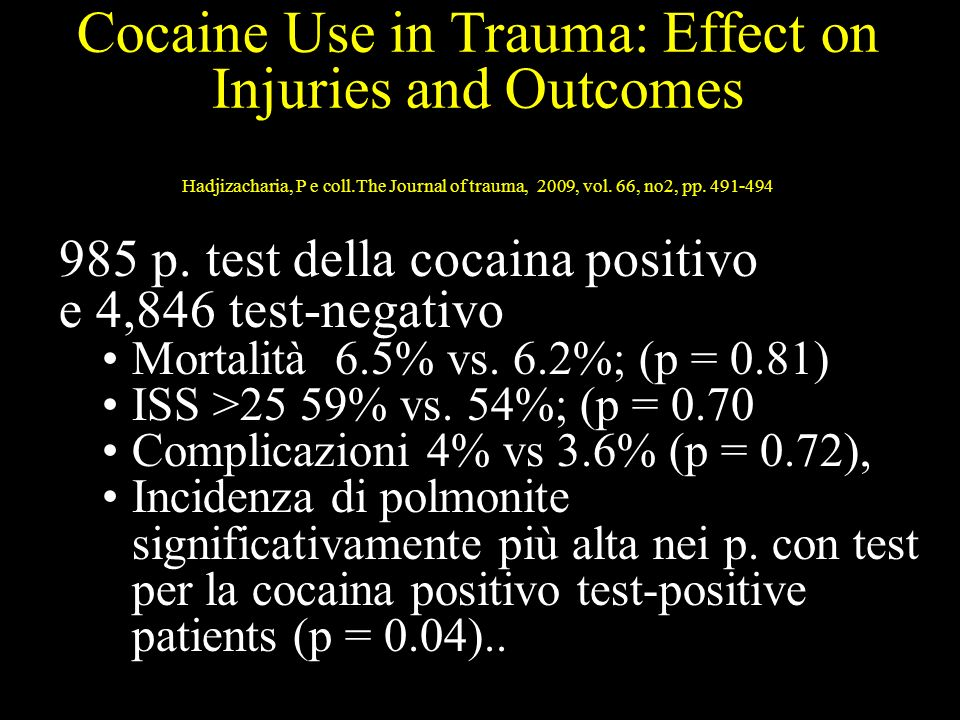 Cocaine Use in Trauma: Effect on Injuries and Outcomes Hadjizacharia, P e coll.The Journal of trauma, 2009, vol.