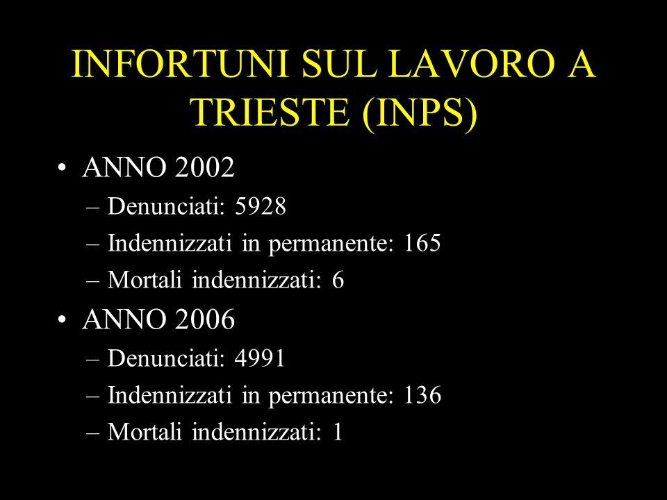 2 INFORTUNI SUL LAVORO A TRIESTE (INPS) ANNO 2002 –Denunciati: 5928 –Indennizzati in permanente: 165 –Mortali indennizzati: 6 ANNO 2006 –Denunciati: 4