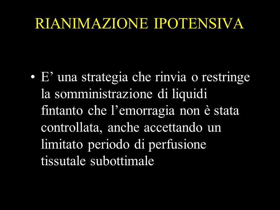 RIANIMAZIONE IPOTENSIVA E una strategia che rinvia o restringe la somministrazione di liquidi fintanto che lemorragia non è stata controllata, anche a