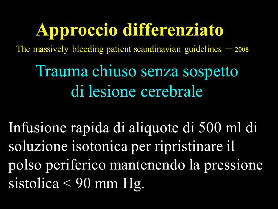 Approccio differenziato The massively bleeding patient scandinavian guidelines – 2008 Trauma chiuso senza sospetto di lesione cerebrale Infusione rapi