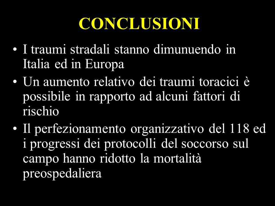 28 CONCLUSIONI I traumi stradali stanno dimunuendo in Italia ed in Europa Un aumento relativo dei traumi toracici è possibile in rapporto ad alcuni fa