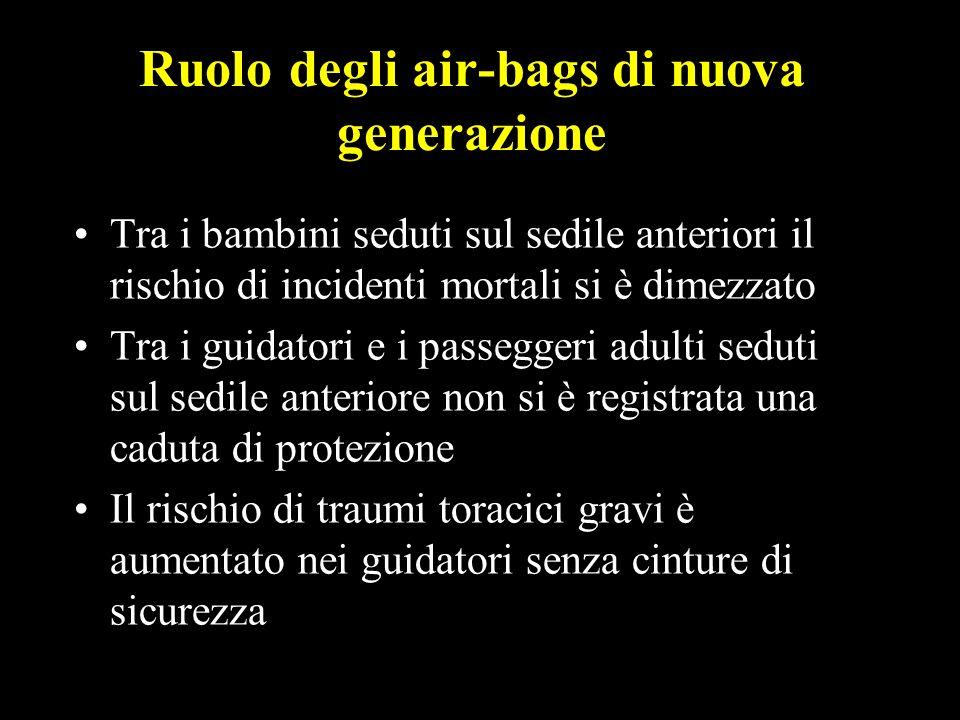 6 Ruolo degli air-bags di nuova generazione Tra i bambini seduti sul sedile anteriori il rischio di incidenti mortali si è dimezzato Tra i guidatori e