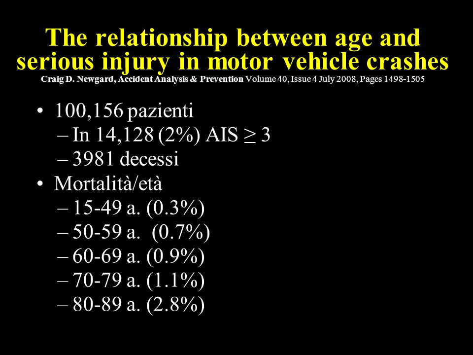 8 Defining the older crash victim: The relationship between age and serious injury in motor vehicle crashes Craig D.
