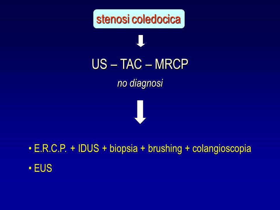 E.R.C.P. + IDUS + biopsia + brushing + colangioscopia EUS US – TAC – MRCP stenosi coledocica no diagnosi