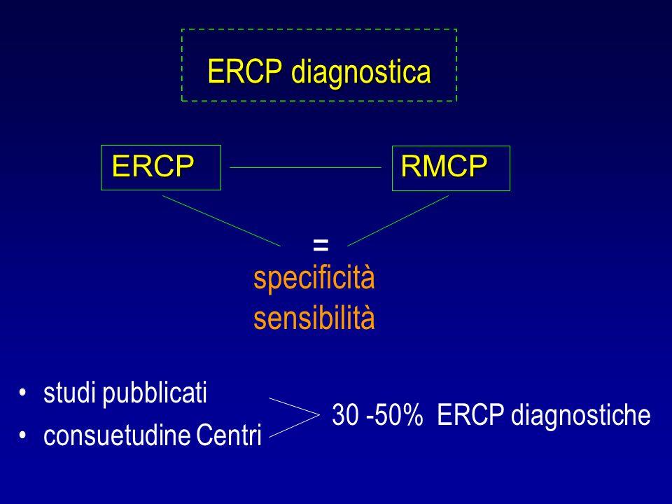 ERCP diagnostica studi pubblicati consuetudine Centri 30 -50% ERCP diagnostiche ERCPRMCP ERCP RMCP specificità sensibilità =