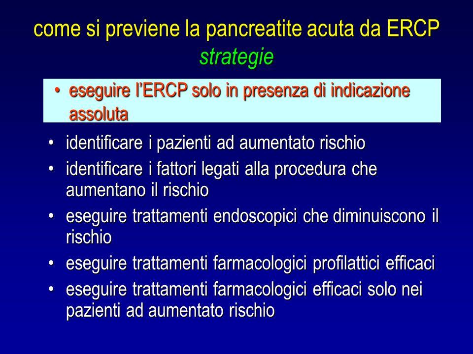 come si previene la pancreatite acuta da ERCP strategie identificare i pazienti ad aumentato rischioidentificare i pazienti ad aumentato rischio ident