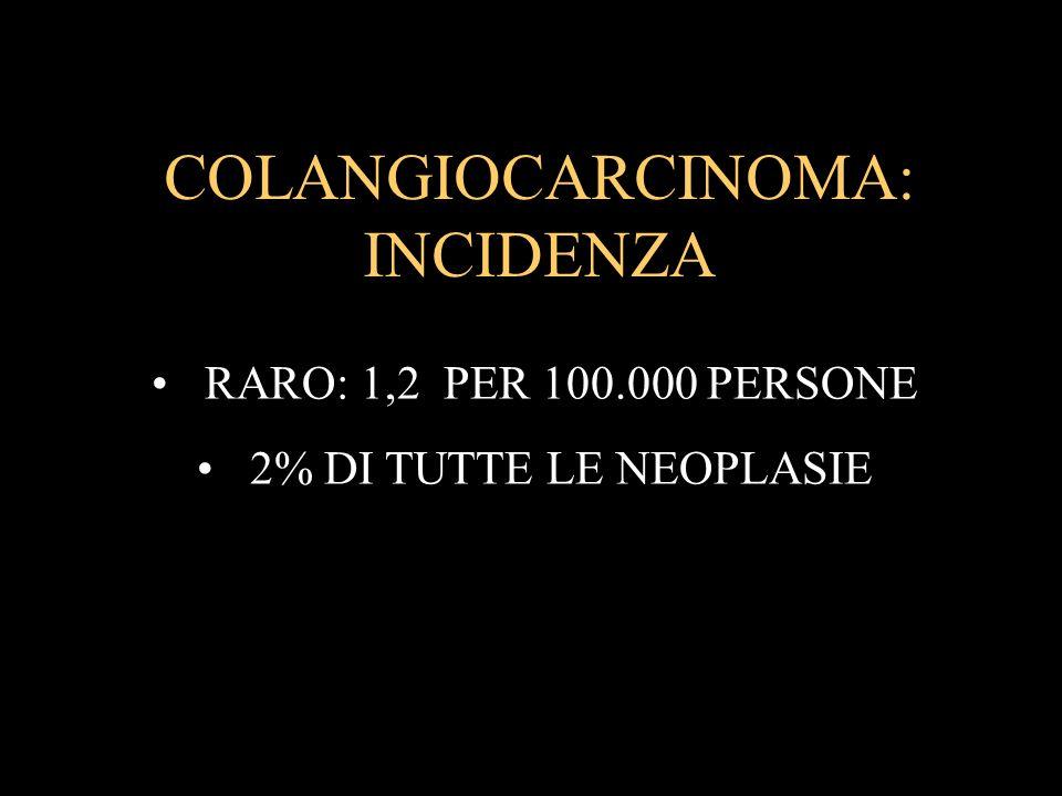 COLANGIOCARCINOMA: INCIDENZA RARO: 1,2 PER 100.000 PERSONE 2% DI TUTTE LE NEOPLASIE