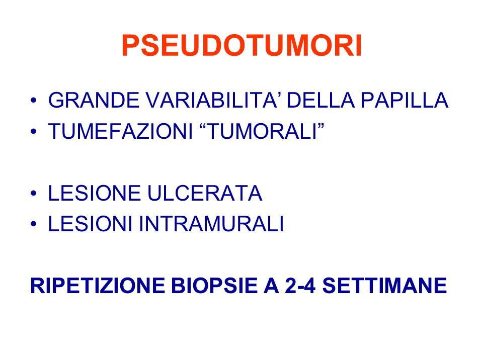 PSEUDOTUMORI GRANDE VARIABILITA DELLA PAPILLA TUMEFAZIONI TUMORALI LESIONE ULCERATA LESIONI INTRAMURALI RIPETIZIONE BIOPSIE A 2-4 SETTIMANE