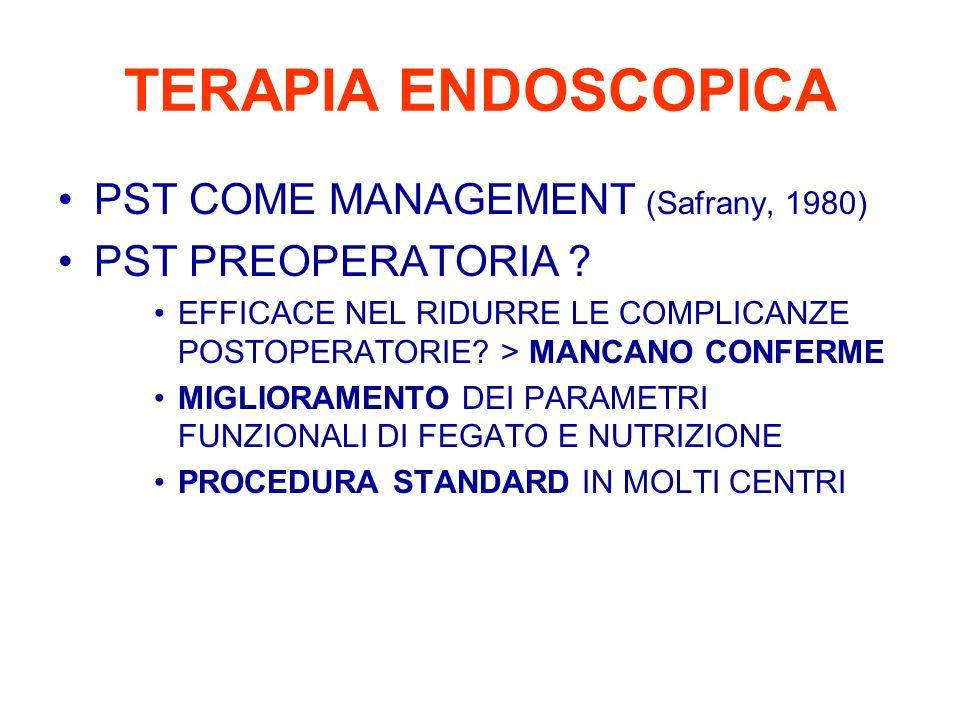 NEOPTOLEMOS et alii (1995) OUTCOME SU 52 CASI DI K AMPOLLARE –25 > WHIPPLE (12.5% ) – 4 > RESEZIONE LOCALE (no ) –10 > BYPASS CHIRURGICO (60% ) –13 > DRENAGGIO ENDOSCOPICO (23% ) SCELTI PER ELEVATO RISCHIO CHIR (età, anemia, ipoalbuminemia) –10/13 casi drenati con la sola PST –2/13 solo precut –1/13 stent