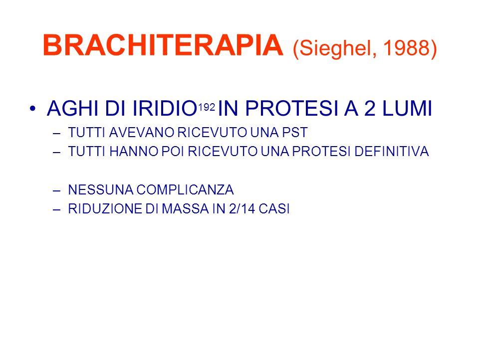 BRACHITERAPIA (Sieghel, 1988) AGHI DI IRIDIO 192 IN PROTESI A 2 LUMI –TUTTI AVEVANO RICEVUTO UNA PST –TUTTI HANNO POI RICEVUTO UNA PROTESI DEFINITIVA