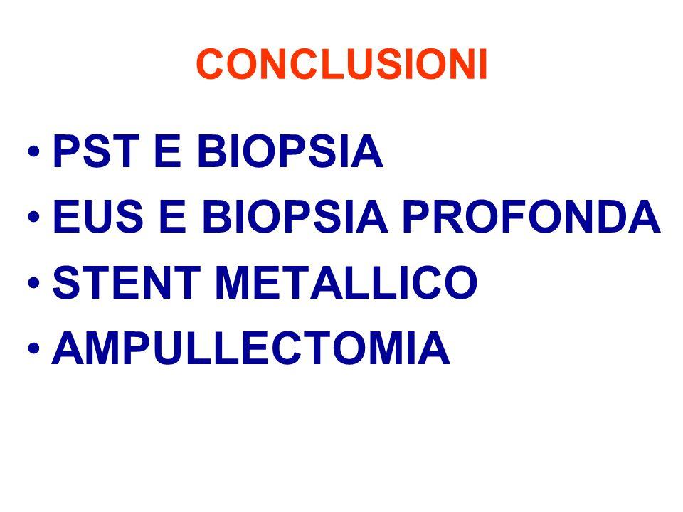 CONCLUSIONI PST E BIOPSIA EUS E BIOPSIA PROFONDA STENT METALLICO AMPULLECTOMIA
