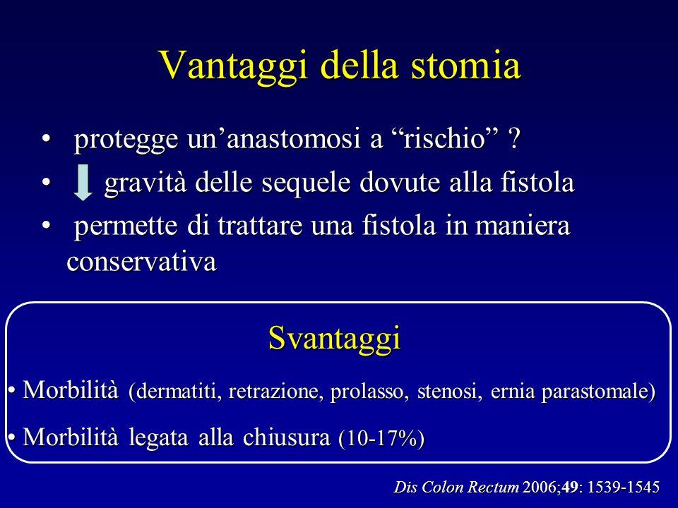 Vantaggi della stomia protegge unanastomosi a rischio .